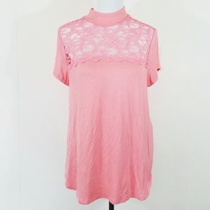 Candies peach lace short sleeve top size XL